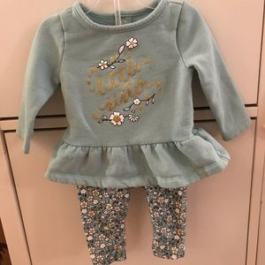 NWOT Little Sister 6-9 mo teal & gold warm outfit